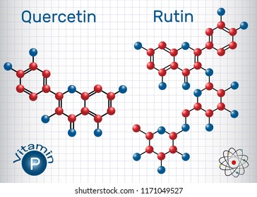 Quercetin, rutin molecule (vitamin P). Structural chemical formula. Sheet of paper in a cage.Vector illustration