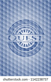 Quest blue emblem or badge with geometric pattern background.