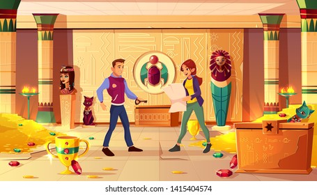 Quest escape room, Egypt pharaoh tomb with people. Man with key and woman with map searching exit from treasury with sarcophagus, gold coins, gems and ancient artifacts. Cartoon vector illustration