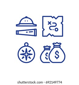 Quest game items, adventure journey, treasure map, compass and money bags, hat and spyglass, vector line icon