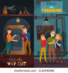 Quest game reality vertical cartoon banners with find way out and search of treasure isolated vector illustration