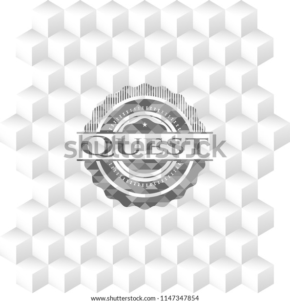 Quest grey emblem. Retro with geometric cube white background