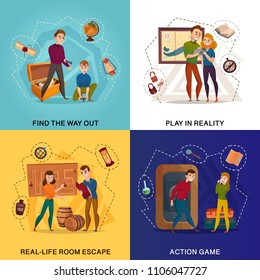 Quest in reality cartoon design concept, room escape, find way out, action game isolated vector illustration