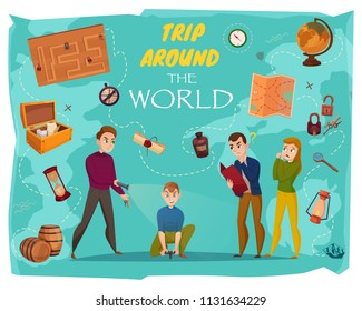 Quest in reality cartoon poster with human characters, game elements, world map on turquoise background vector illustration