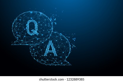 Question & Answer bubble chat form lines, triangles and particle style design. Illustration vector