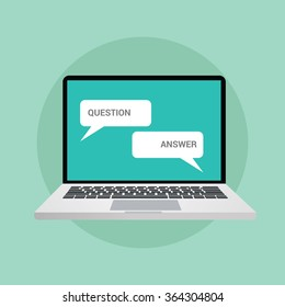 question and answer concept illustration in chat style online computer notebook laptop
