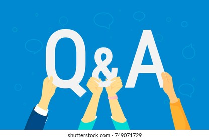 Question and answer concept vector illustration of happy people showing letters Q and A. Flat human hands hold white symbols on blue background