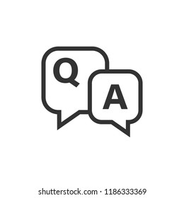 Question and answer icon in flat style. Discussion speech bubble vector illustration on white isolated background. Question, answer business concept.