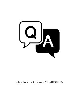 Question and answer icon in flat style. Discussion speech bubble vector illustration on white background. Question, answer business concept