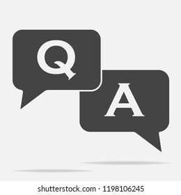 Question answer icon on gray background.  Flat image speech bubbles question and answer with  shadow. Layers grouped for easy editing illustration. For your design.
