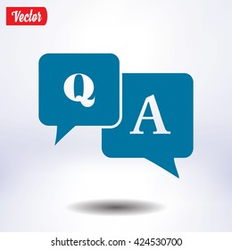 Question answer icon. Q&A sign symbol. Speech bubbles with question and answer.