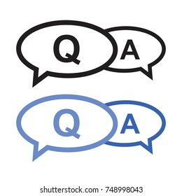 Question answer icon. Q&A symbol. Flat sign on white background. Vector.Question and answers icon