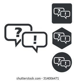 Question answer icon set, monochrome, isolated on white