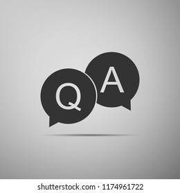 Question and Answer mark in speech bubble icon isolated on grey background. Q and A symbol. Flat design. Vector Illustration