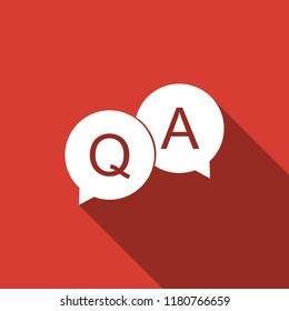 Question and Answer mark in speech bubble icon isolated with long shadow. Q and A symbol. Flat design. Vector Illustration