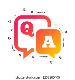 Question answer sign icon. Q&A symbol. Colorful geometric shapes. Gradient question icon design.  Vector