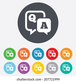 Question answer sign icon. Q&A symbol. Round colourful 11 buttons. Vector