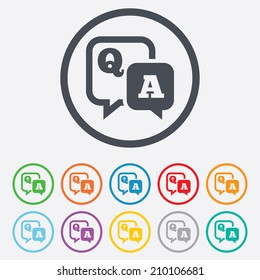 Question answer sign icon. Q&A symbol. Round circle buttons with frame. Vector