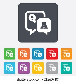 Question answer sign icon. Q&A symbol. Rounded squares 11 buttons. Vector