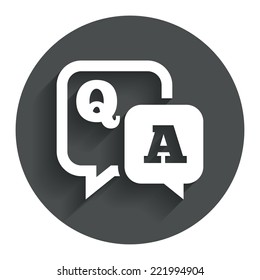 Question answer sign icon. Q&A symbol. Circle flat button with shadow. Modern UI website navigation. Vector