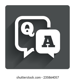 Question answer sign icon. Q&A symbol. Gray flat square button with shadow. Modern UI website navigation. Vector