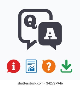 Question answer sign icon. Q&A symbol. Information think bubble, question mark, download and report.