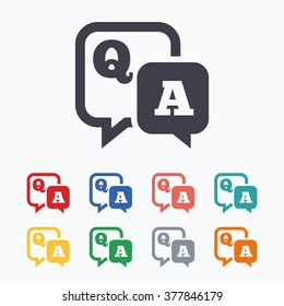 Question answer sign icon. Q&A symbol. Colored flat icons on white background.