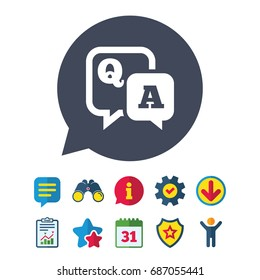 Question answer sign icon. Q&A symbol. Information, Report and Speech bubble signs. Binoculars, Service and Download, Stars icons. Vector