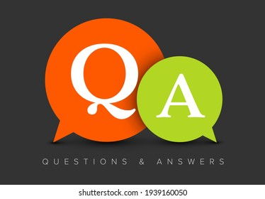 Question and Answers concept illustration template with big green and red circle speech bubbles with QA letters - qustions and answers section icon, header image