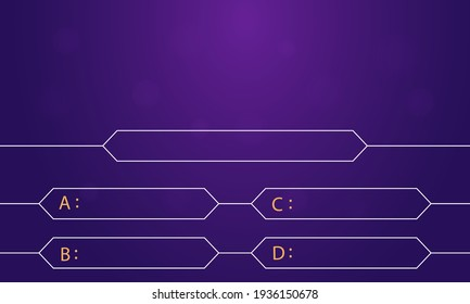 Question and answers template. Quiz game in tv. Gradient background of blue and pink color.