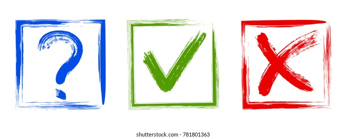 Question, approval tick and rejection cross check marks, query, x and ok symbol signs, test, survey, quiz reply icons, options in check boxes.  Checklist query and answers marks tick and cross design.