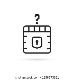 question box black thin line icon. concept of mmorpg game item for micro payments and simple quest badge. flat stroke trend modern faq logotype graphic linear design art isolated on white background