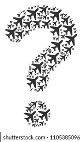 Question composition constructed with air plane icons. Vector air plane icons are organized into secret composition.