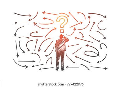 Question concept. Hand drawn man near a wall with questions. Male person who has to make a decision isolated vector illustration.
