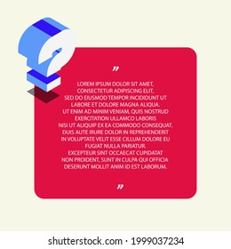 Question concept vector template, quiz symbol, examination test, bubble text, help sign, faq. Question mark stamp. Ask help illustration. Isometric illustration. 10 eps