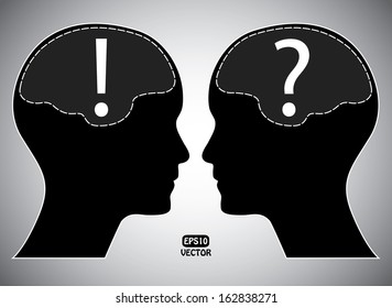 Question and exclamation mark with human head and brain. Creative isolated eps10 vector illustration.
