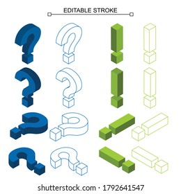 question and exclamation mark isometric, solution and problem symbol, icon, editable stroke, line