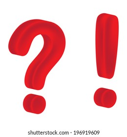 Question and exclamation mark on a white background
