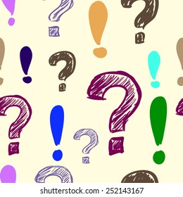 Question and exclamation marks colorful seamless texture