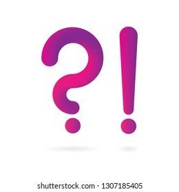 Question and exclamation marks. Trendy vector 3d liquid style symbol.Part of set.