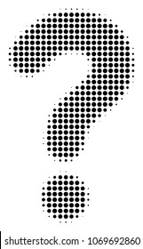 Question halftone vector pictogram. Illustration style is dotted iconic Question icon symbol on a white background. Halftone texture is circle items.