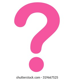 Question icon from Primitive Set. This isolated flat symbol is drawn with pink color on a white background, angles are rounded.