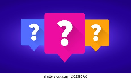 Question labels icons on purple background, question mark, illustration vector