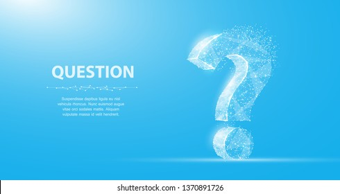 Question mark. 3d abstract vector isolated on blue with dots and stars. Ask symbol. Help support, faq problem symbol, think education concept, confusion search illustration or background