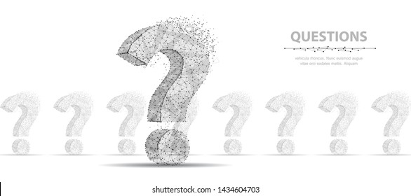 Question mark. 3d abstract vector infographic illustration isolated on white background. Three ask symbol. Help support, faq problem, education, confusion, think search, plan concept illustration