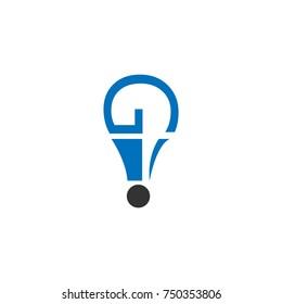 Question mark with ballon or bulb lamp shape logo design