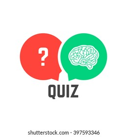 question mark and brain like quiz. concept of quizz time, mind, discovery, knowledge token, interrogation, success. flat style trend modern logotype design vector illustration on white background