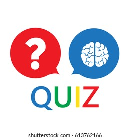 question mark and brain like quiz. concept of quizz time, mind,
