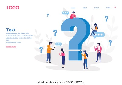 Question mark. Business people asking questions around a huge question mark. Vector illustration.for web banner, infographics, mobile website. Landing page template.