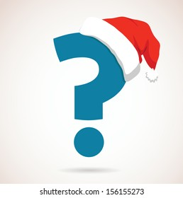 question mark with christmas hat